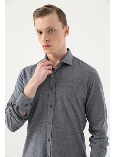Tween Slim Fit Örme Gömlek Lacivert